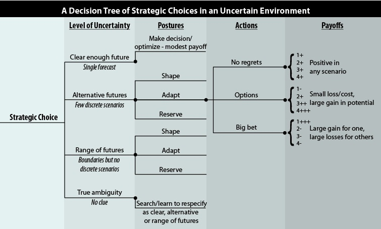 Decision Tree of Strategic Choices in an Uncertain Environment