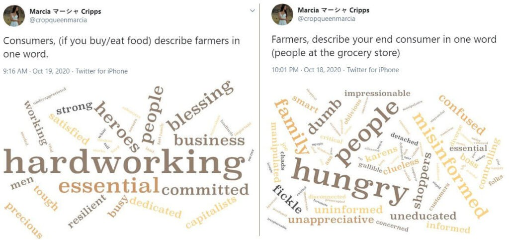 in response to a twitter tweet, consumers and farmers describe each other in wordcloud form