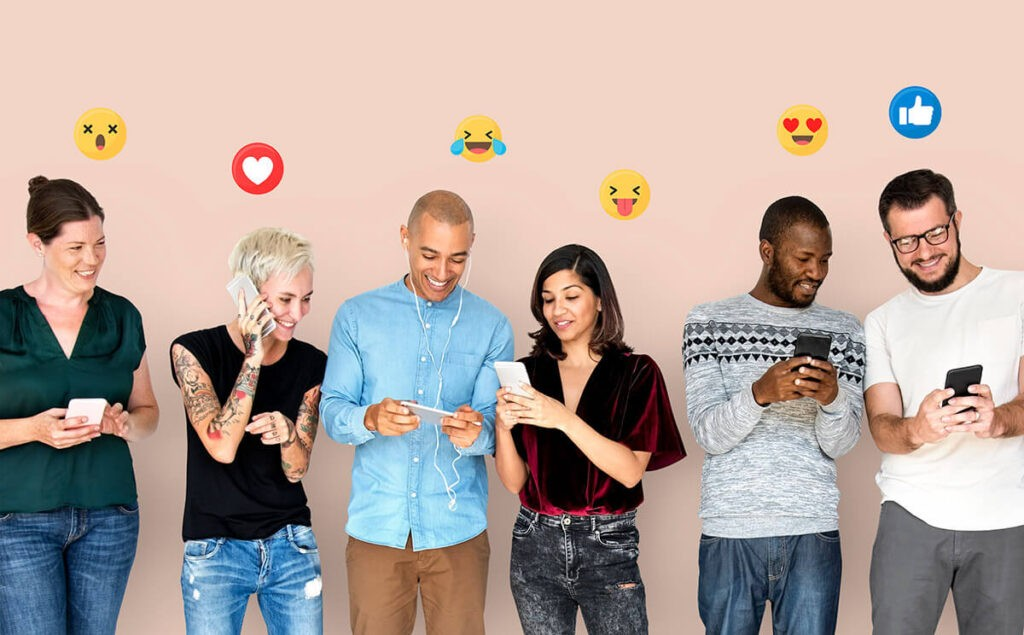 diverse group of people using social media on digital devices