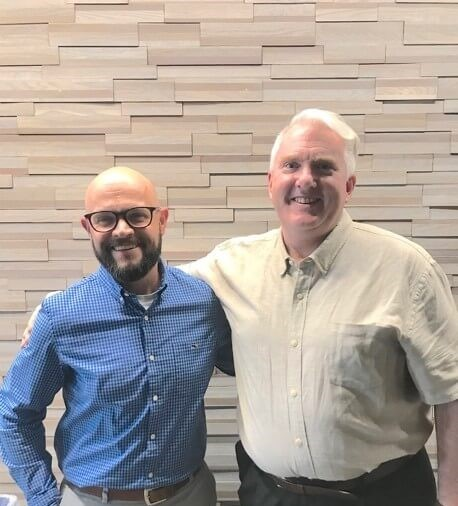 Justin Funk (left) and Scott Downey (right) pose for a picture while teaching in Strategic Agri-Marketing, 2019.