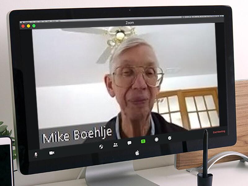 Mike Boehlje on a Zoom call
