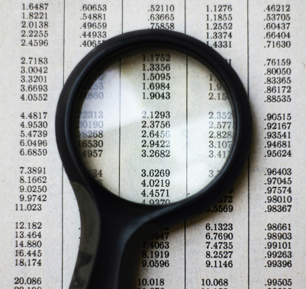 a magnifying glass over sets of data