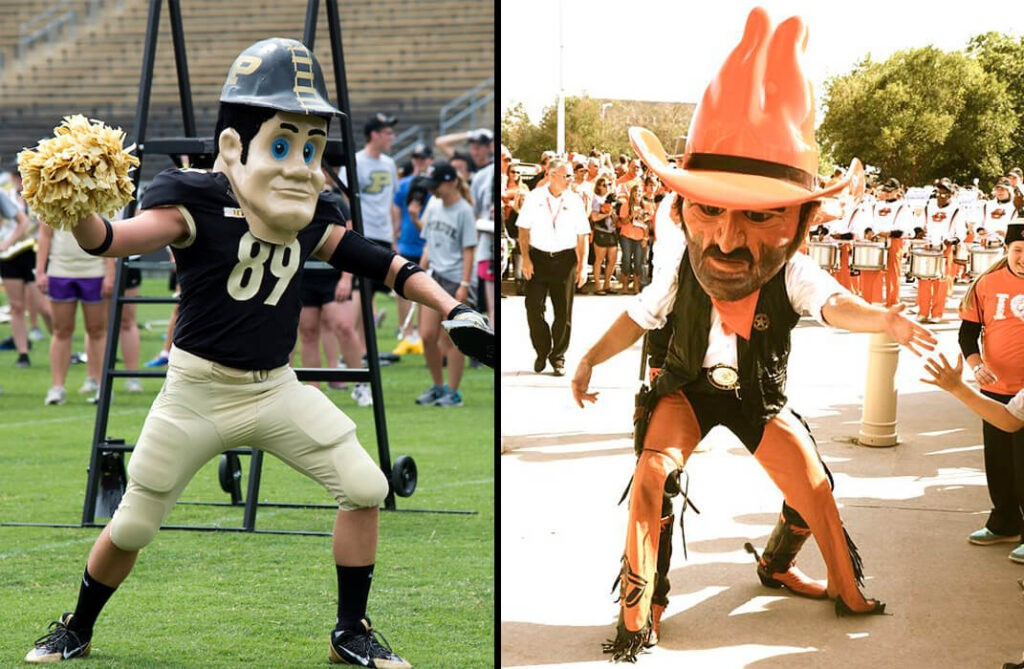 Split image of Purdue Pete and Pistol Pete of OSU